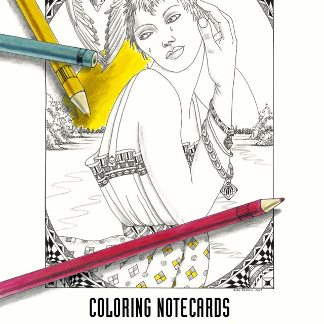 Big Girls' Coloring Notecards – 4 unique images, 8 cards